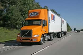 YRC Freight orange doubles trailers