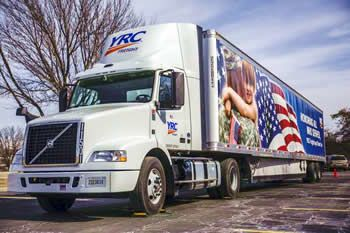 YRC Freight stars and stripes american flag truck