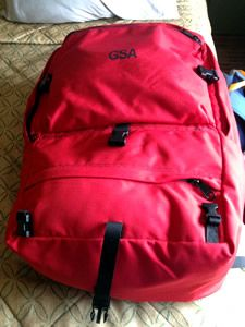 picture of a red backpack