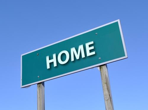 A sign that says 'home'