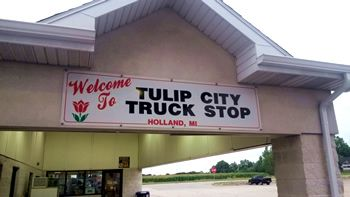 Tulip City Truck Stop Sign