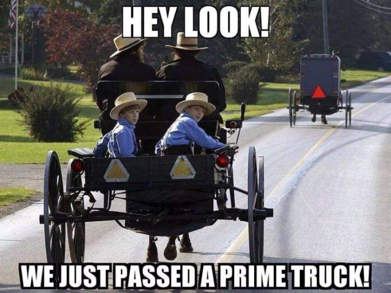 amish horse and buggy wagon we just passed a prime truck funny caption