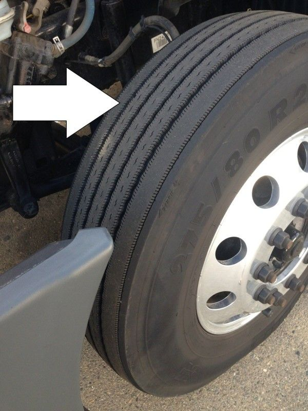truck driver's pretrip inspection steer tire