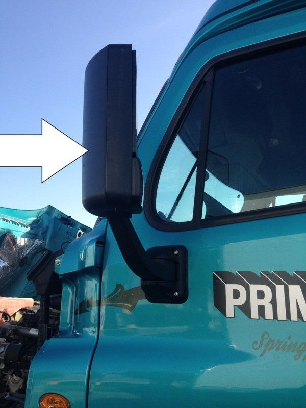 truck driver's pretrip inspection mirror check