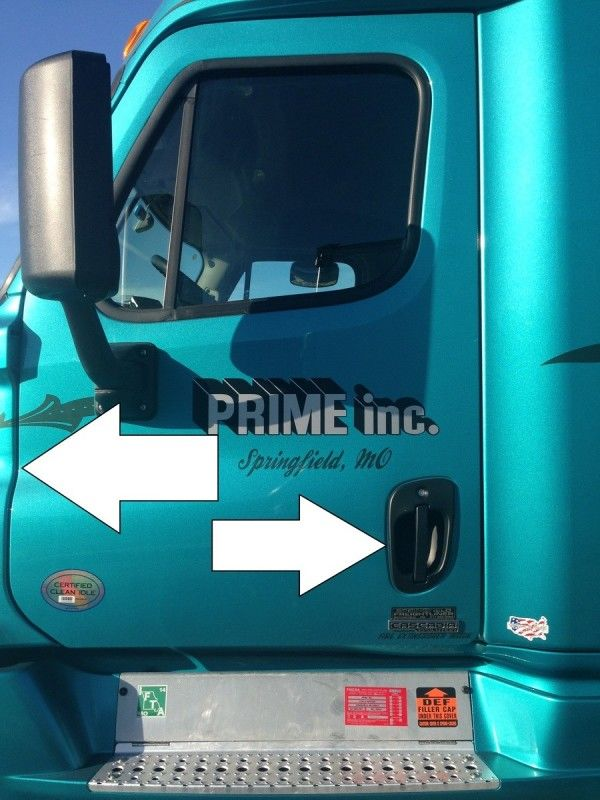 truck driver's pretrip inspection door and hinges