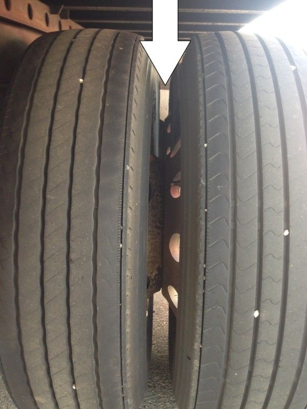truck driver's pretrip inspection spacing between tires