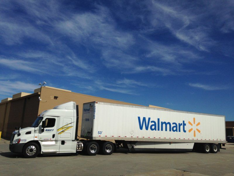 White Swift 2016 Cascadia 113 with Walmart trailer