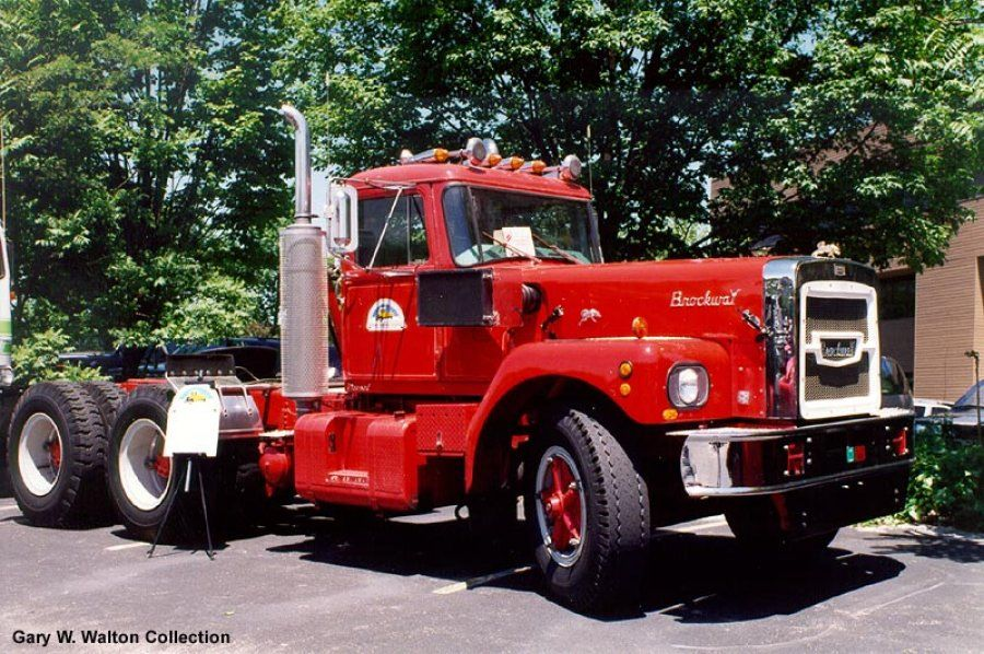 restored red 1947 Brockway semi-truck