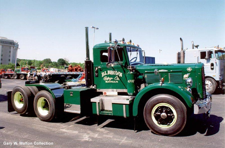 restored green 1947 Brockway semi-truck