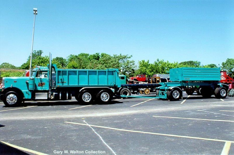 Robin Egg Blue 1970 Peterbilt 359 dump truck with trailer