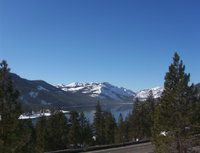 The scene driving up to my house above Donner Lake CA with I-80 Westbound in the foreground -
