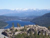 Looking east to Truckee from the old road over Donner Pass - Reno's behind the big mountain