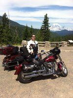 Better half and our other rides. Mt. Rainer in background.