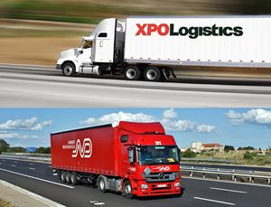 XPO logistics tractor trailer on the highway